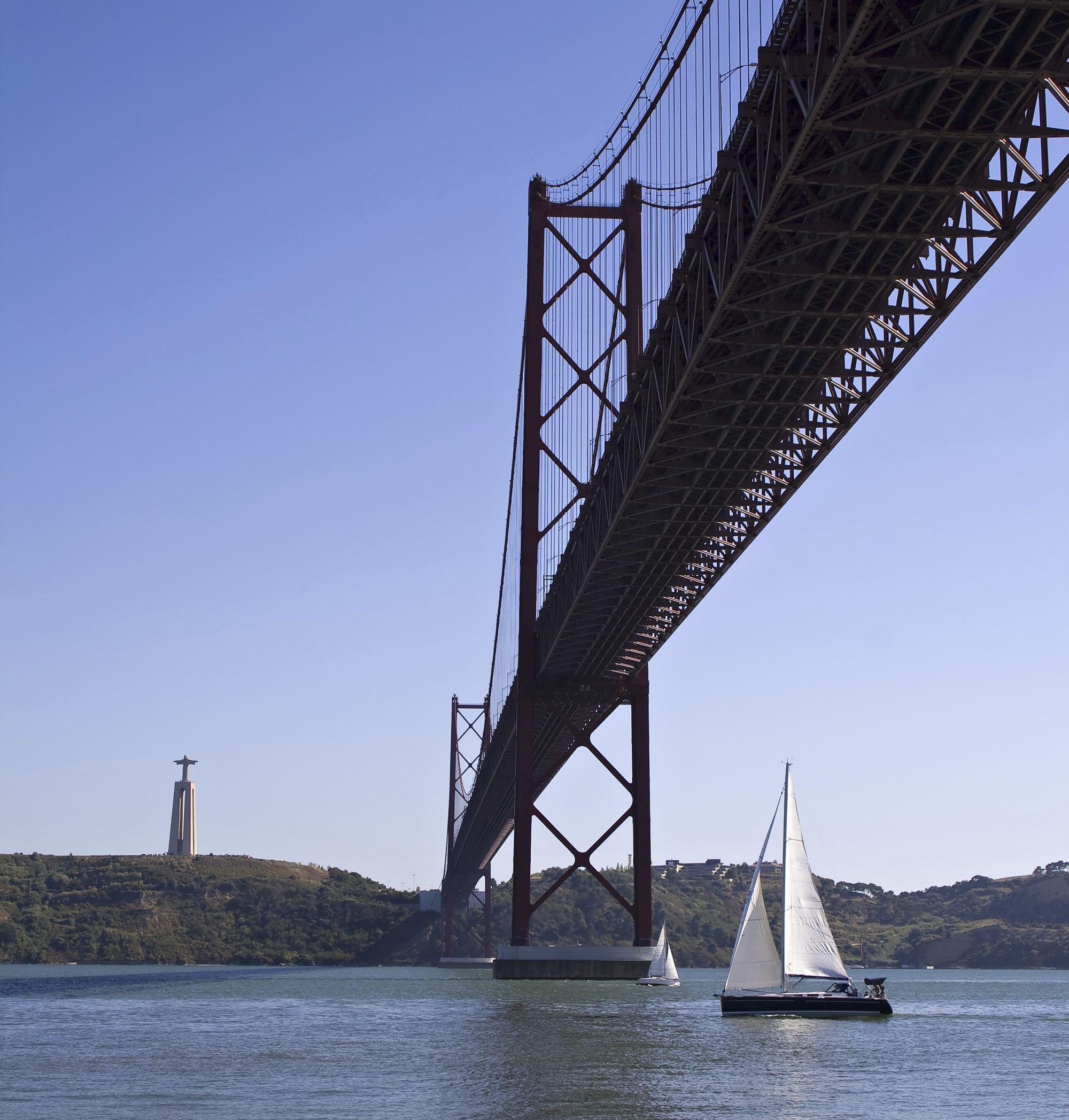 Sailing over Suspencion Bridge over the Tagus river in Lisbon,